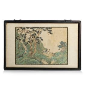 Chinese School, 19th century - 'figures on a landscape'