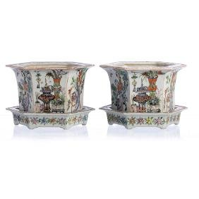 Pair of six-sided Chinese Porcelain vases, Guangxu