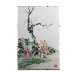 """Little boys playing"" plaque in Chinese porcelain,"