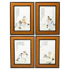 Four 'Eight Immortal' plaques in Chinese porcelain,