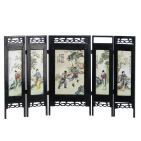 Chinese Porcelain Table folding screen, Republic