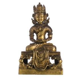 Inscribed Chinese gilt bronze Bodhisattva, Qianlong