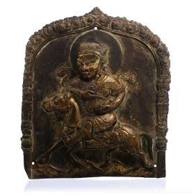 Tibetan Kubera Buddhist plaque in gilded copper, 18thC