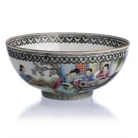 Figural eggshell chinese porcelain bowl