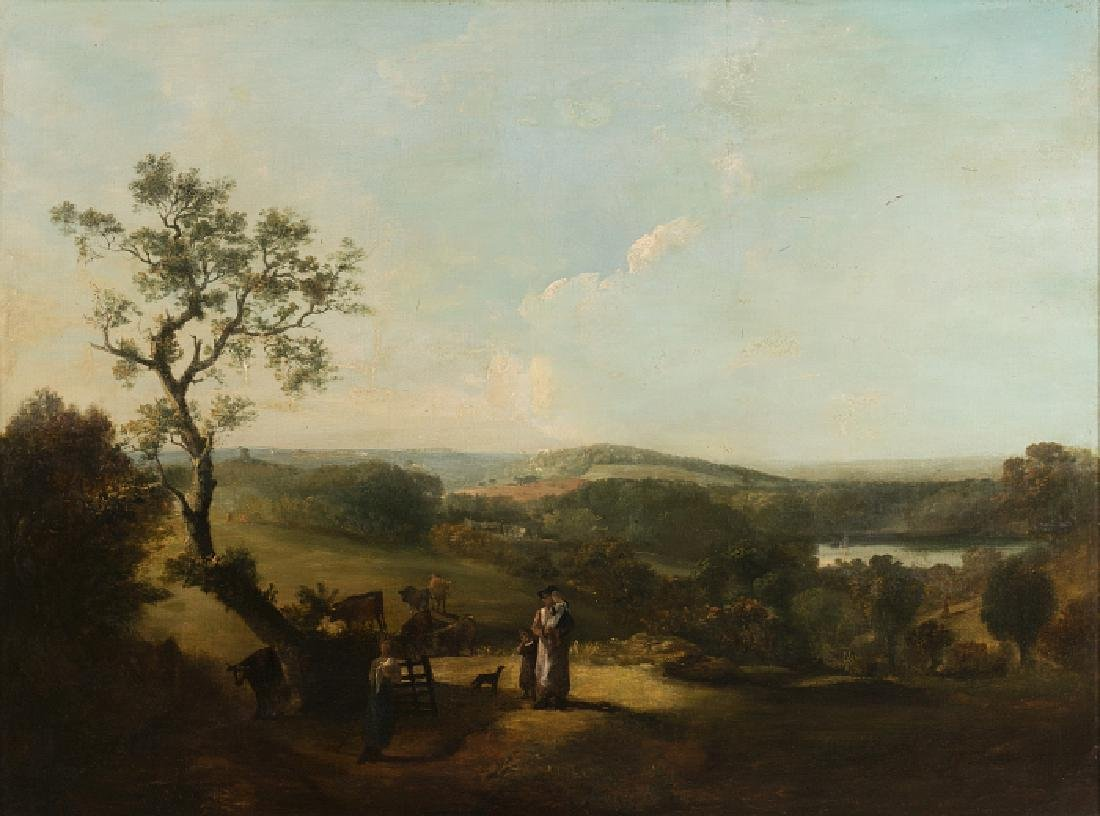 DUTCH SCHOOL, 18th century - Landscape with figures and