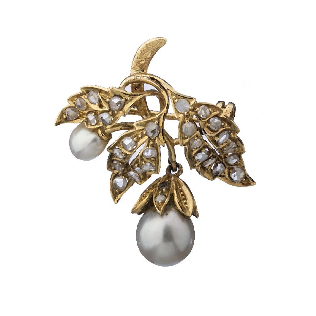 """Leaves"" 19,2kt Gold pin studded with diamonds"