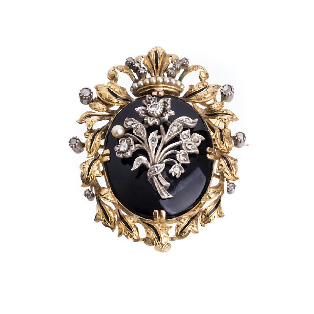Gold and silver brooch and pendant with diamonds and