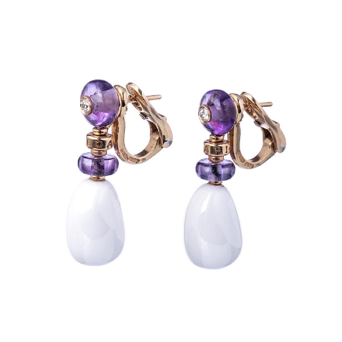 BULGARI earrings in gold with amethysts, diamonds, and