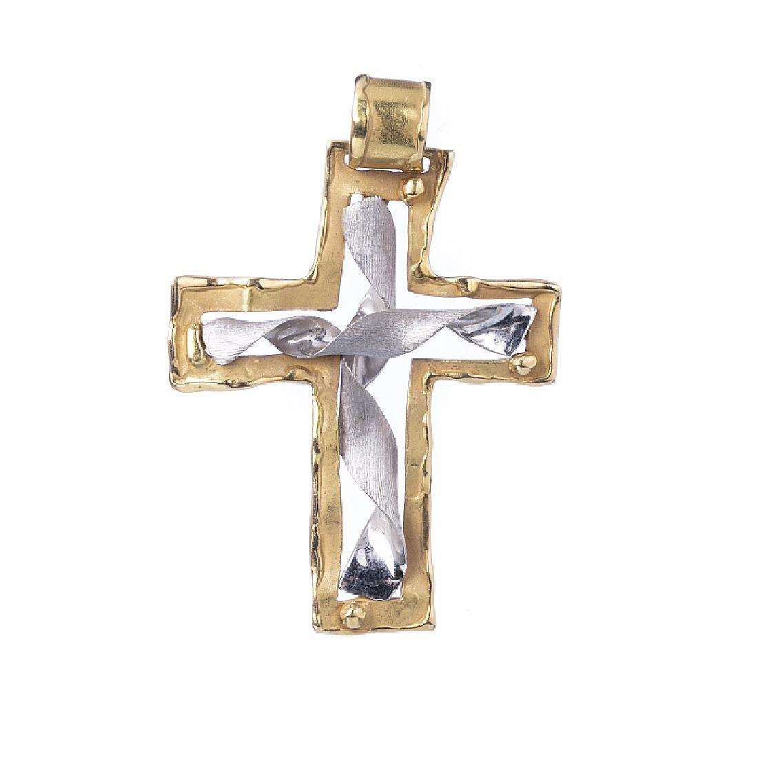Modernist crucifix pendant in gold