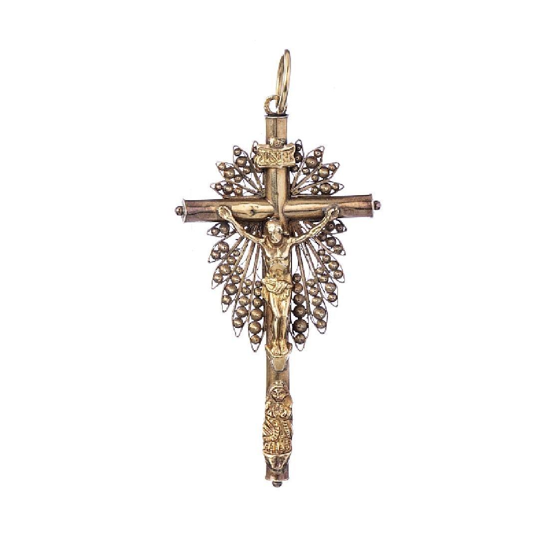 Crucifix in gold, 18th century
