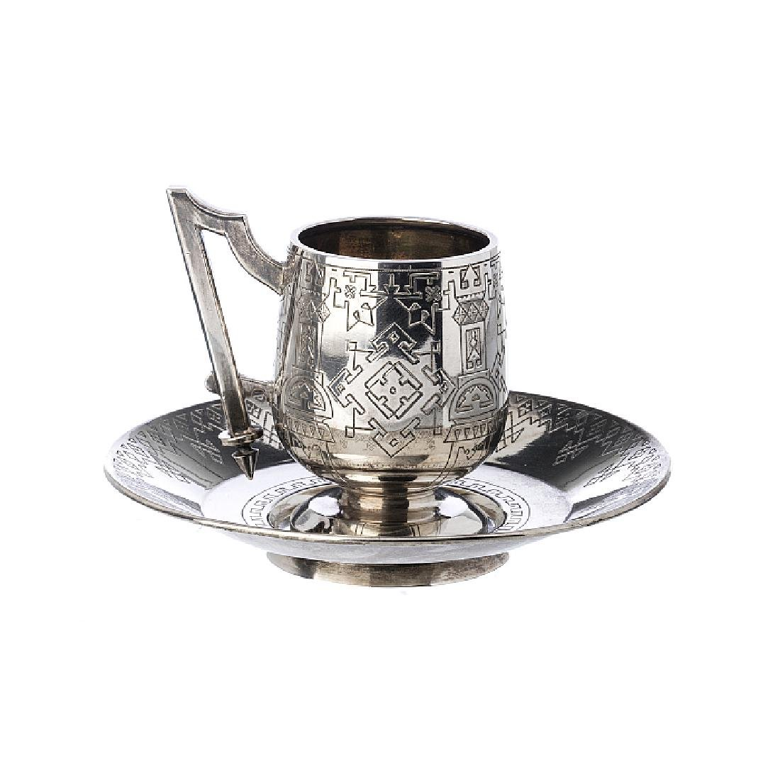 Coffee cup and saucer in Russian silver