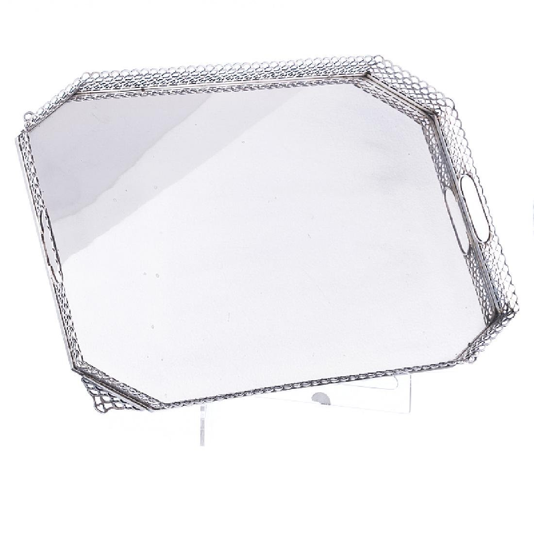 Eight-sided tray with a pierced gallery, in silver