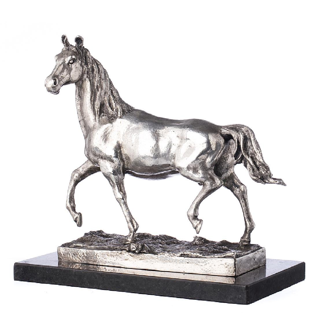 Sculpture of a horse in silver