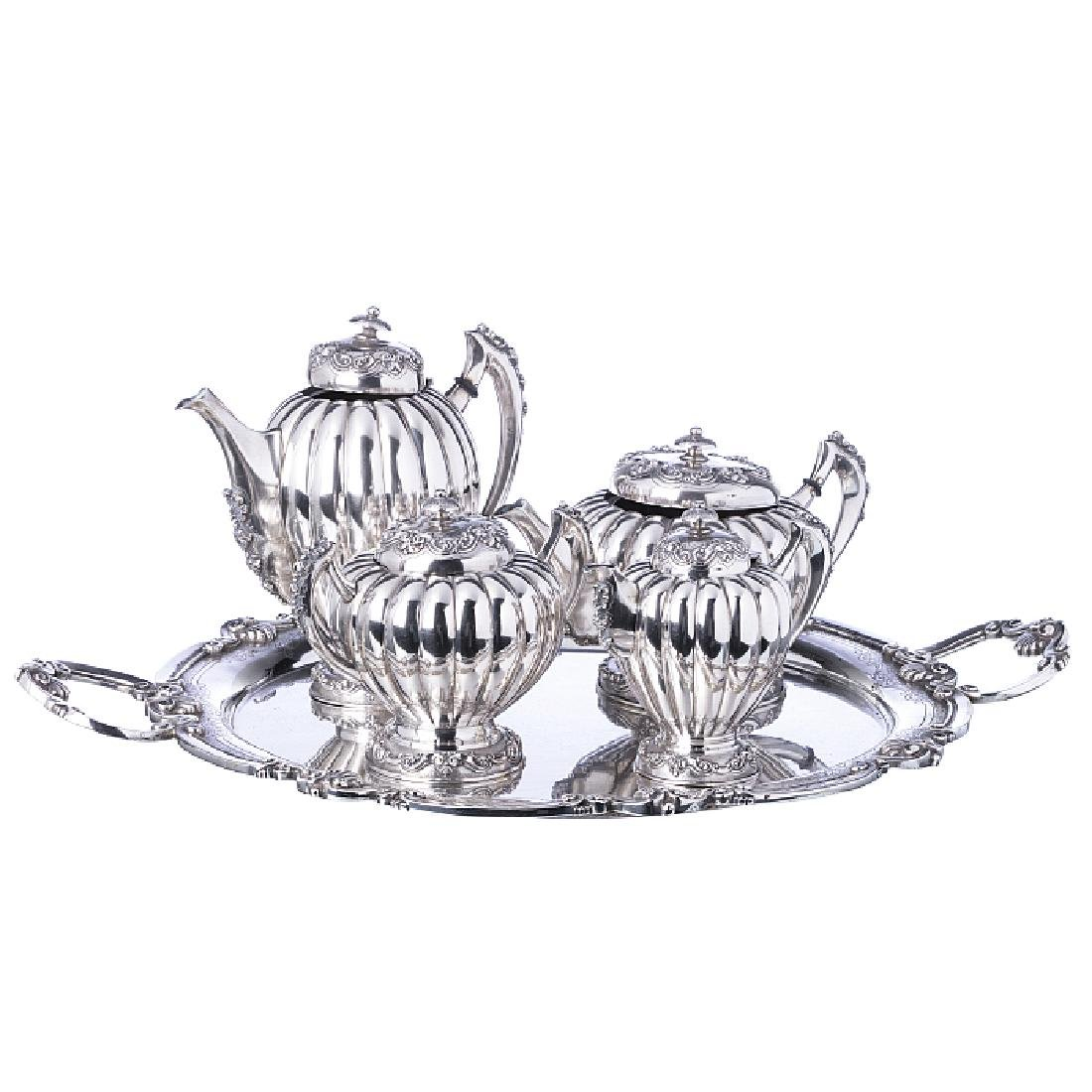 Tea, coffee set with a tray, in silver