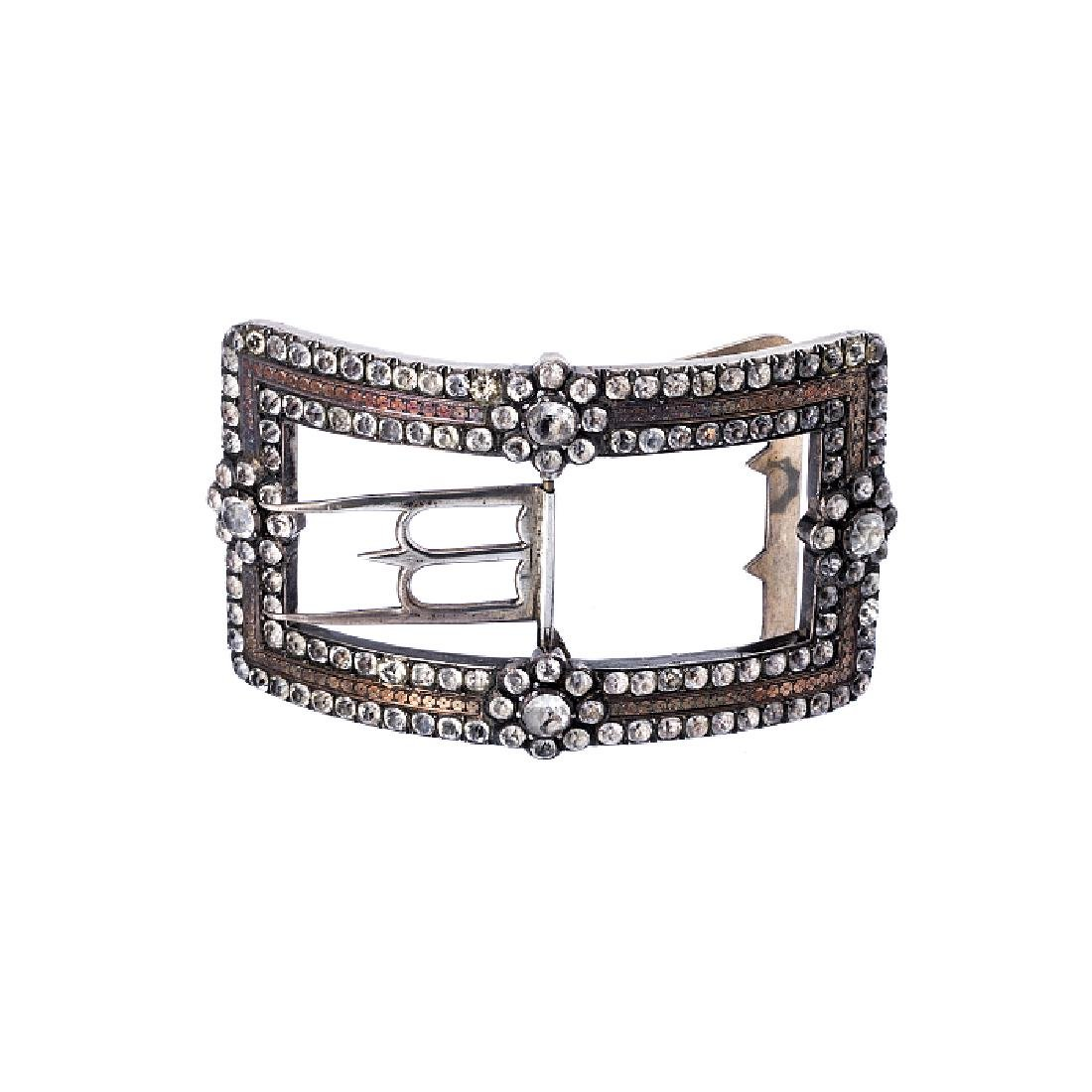 Silver buckle with glass pieces