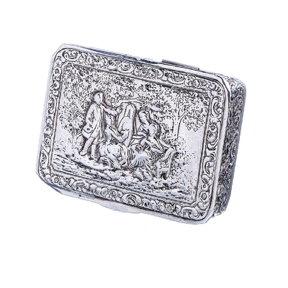 Figurative cigarette case in Spanish silver