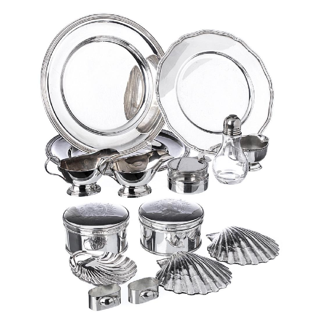 Set of items in English, French silver plate