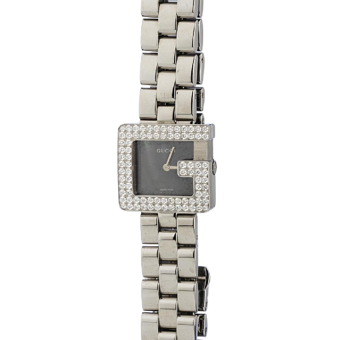GUCCI - Lady's steel watch with diamonds