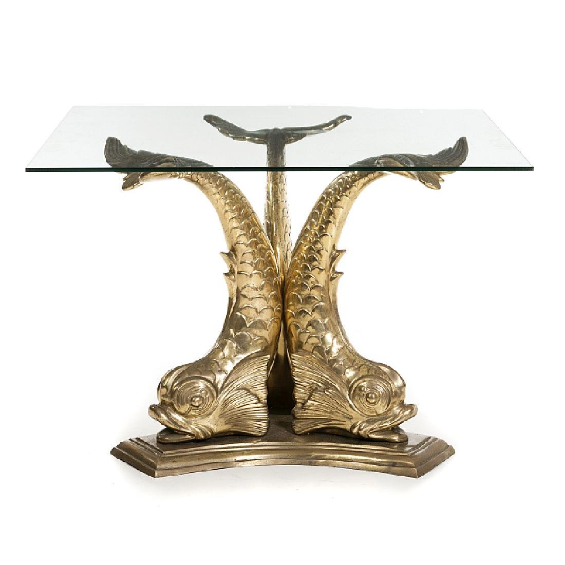 Brass modernist dolphin dining table