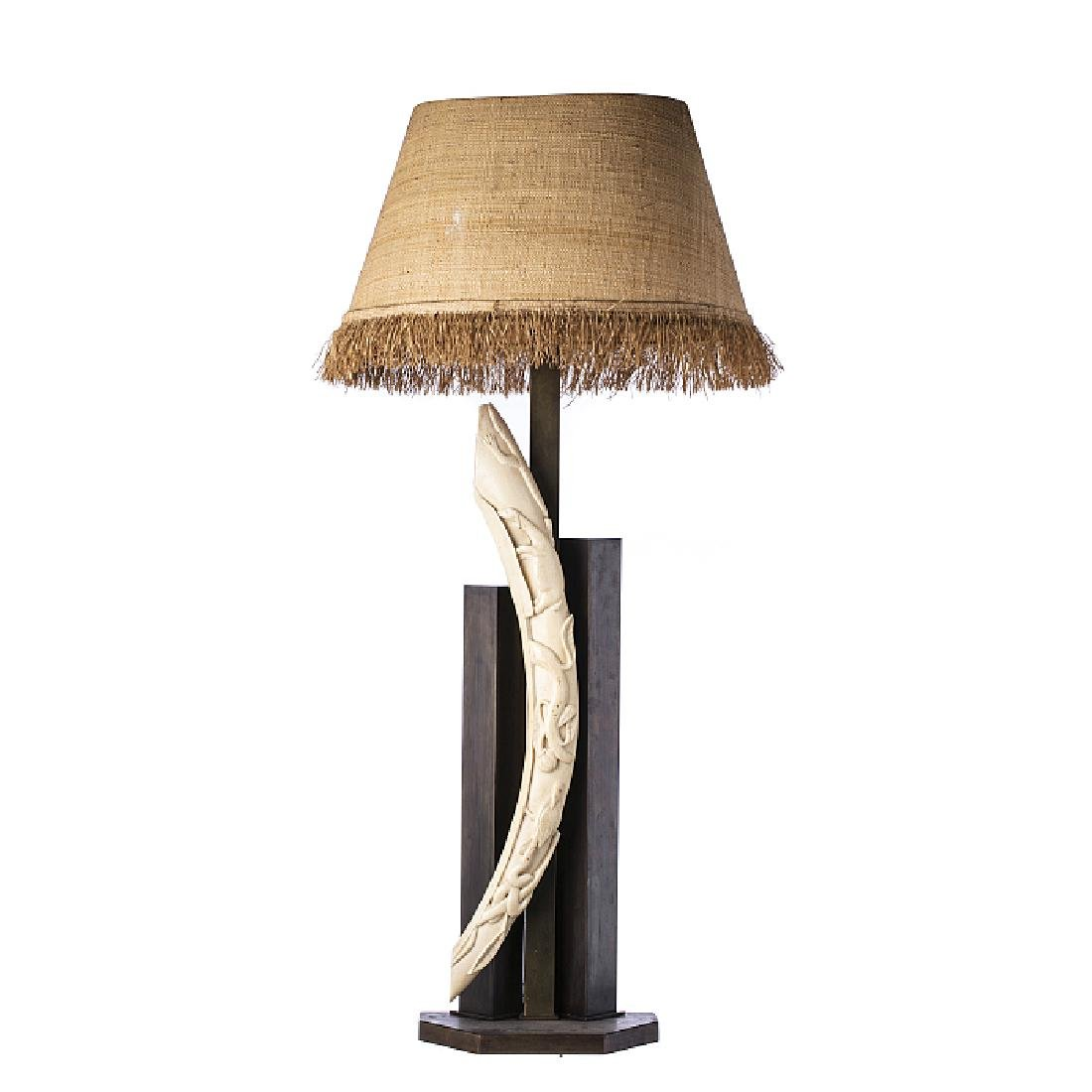 Modernist lamp with a carved tusk in ivory