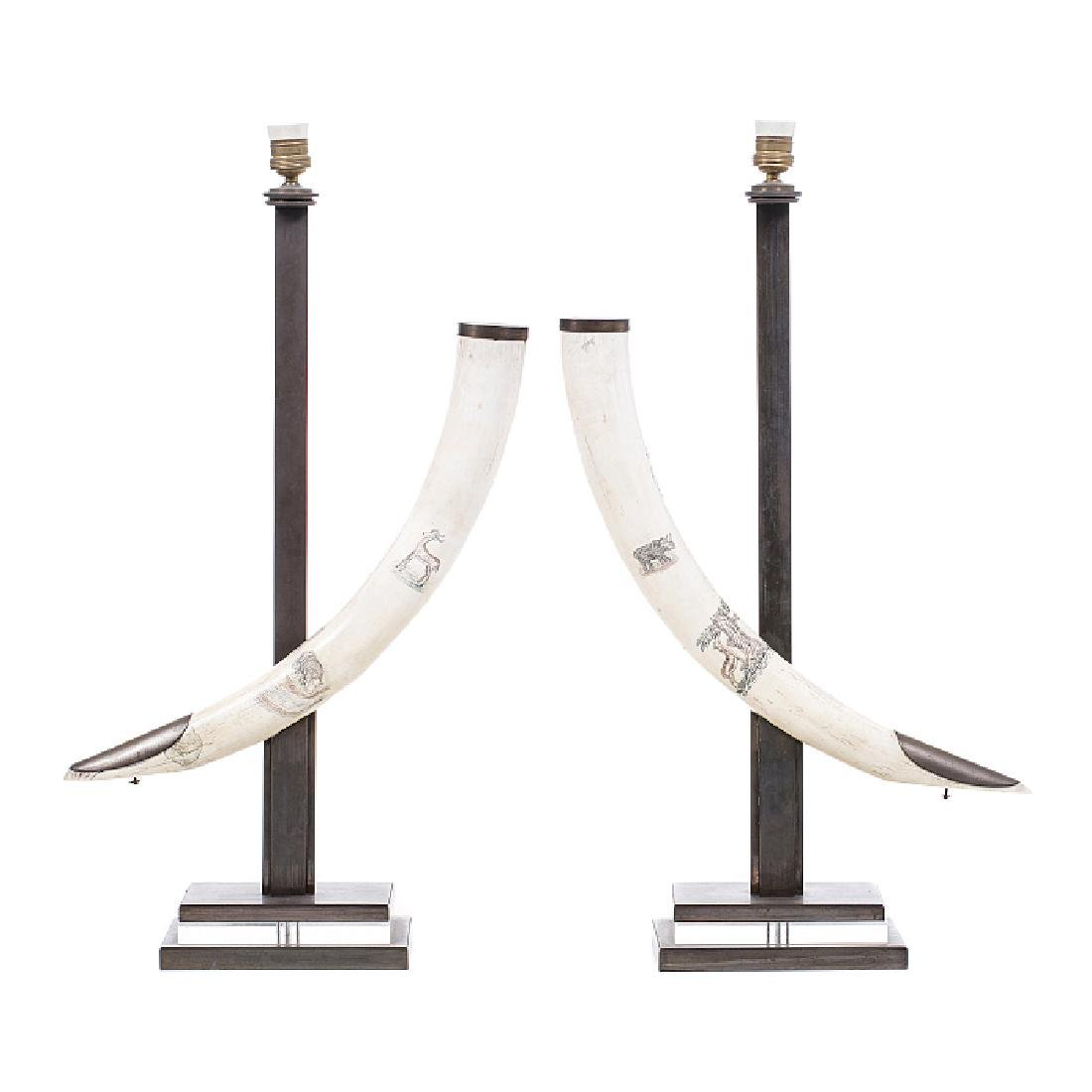 Pair of modernist lamps with tusks in ivory