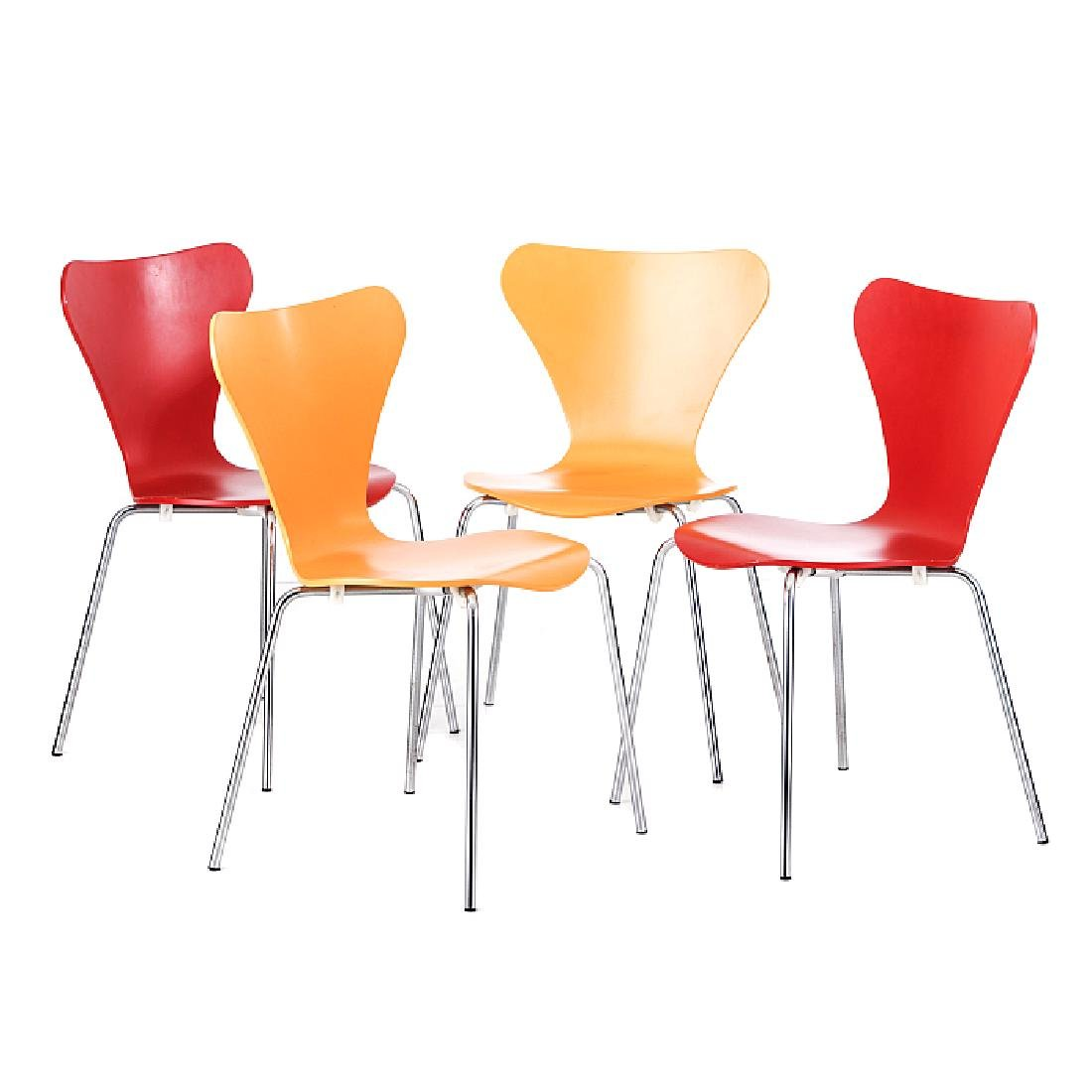 "After ARNE JACOBSEN (1902-1971) - four ""Serie 7"" chairs"