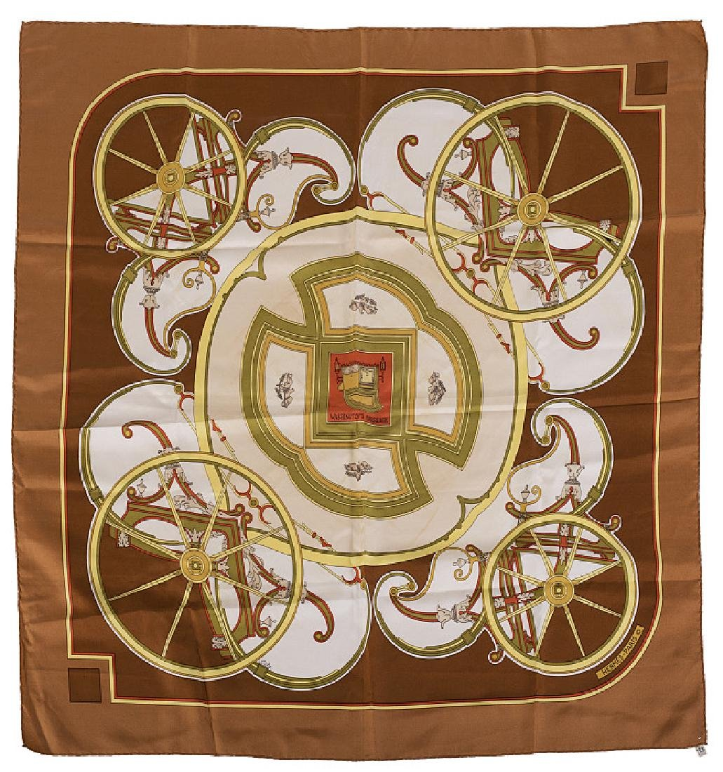 "HERMÈS - ""Washington's Carriage"" silk handkerchief"