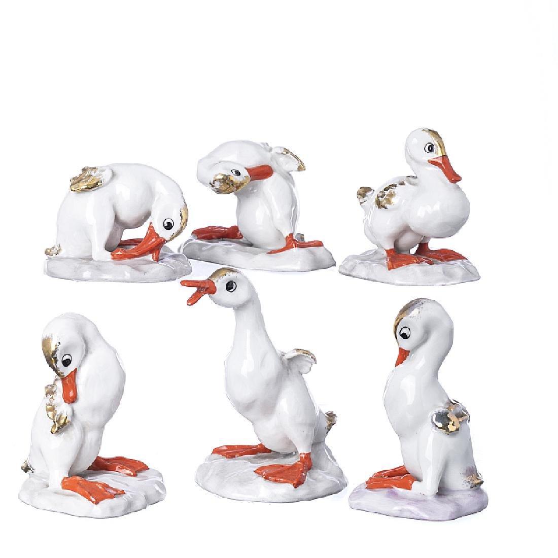 Set of six Vista Alegre little ducks
