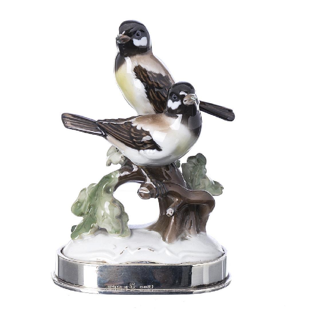 """Birds"" sculpture group in porcelain and silver, LeitAo"