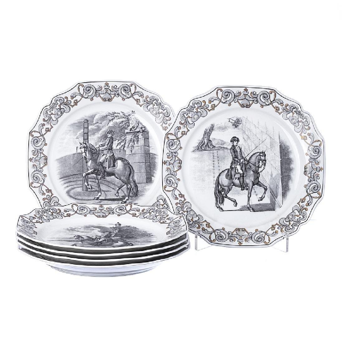 """Six """"equestrian"""" plates from Vista Alegre"""