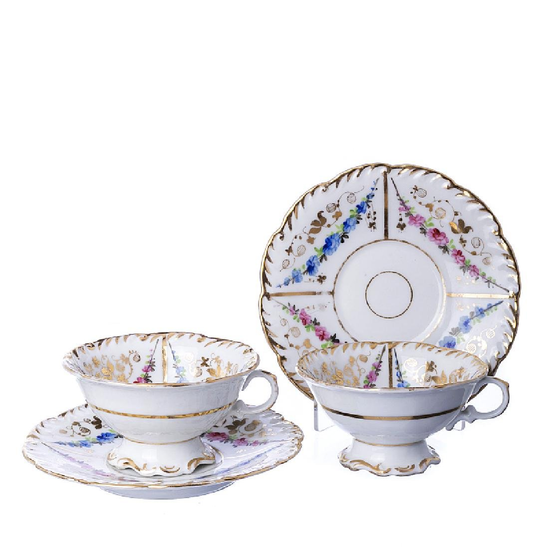 Six cups, saucers in French porcelain