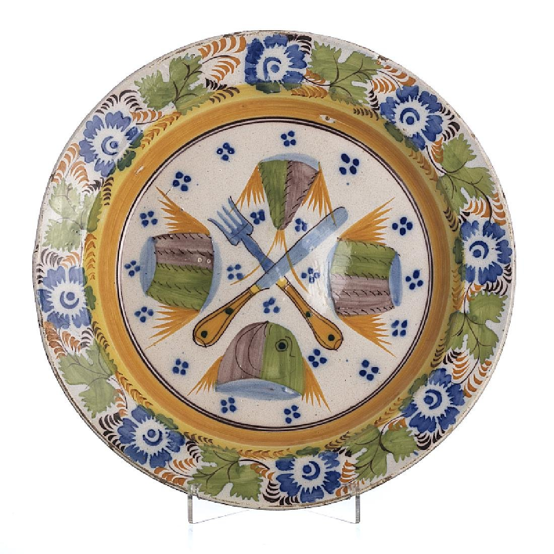 Fork and knife plate in faience