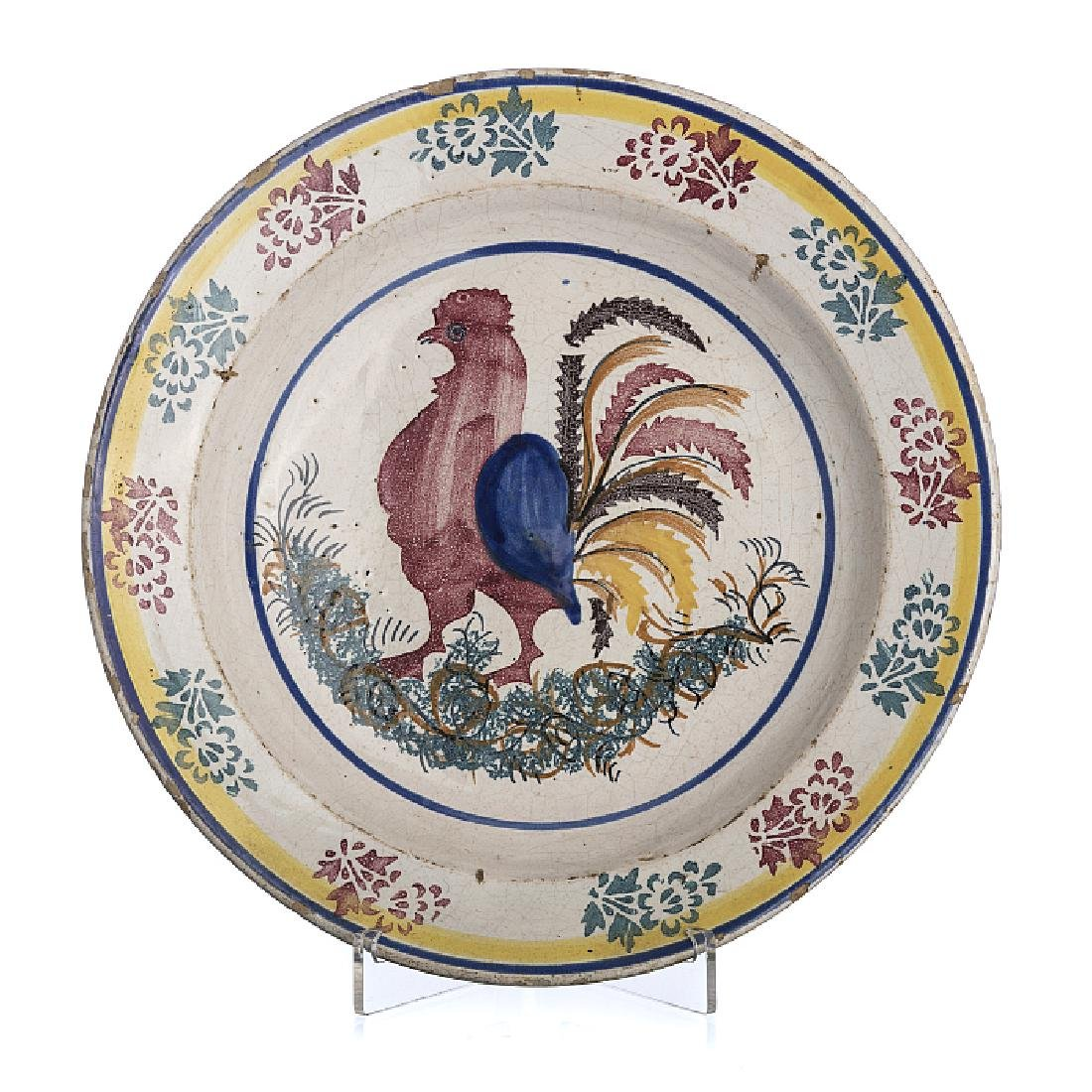 Rooster plate in faience