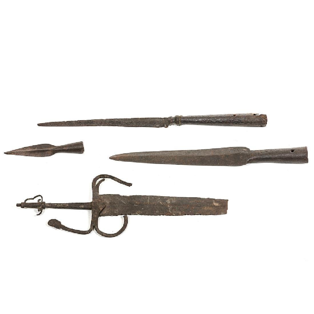 Set of four medieval items in iron