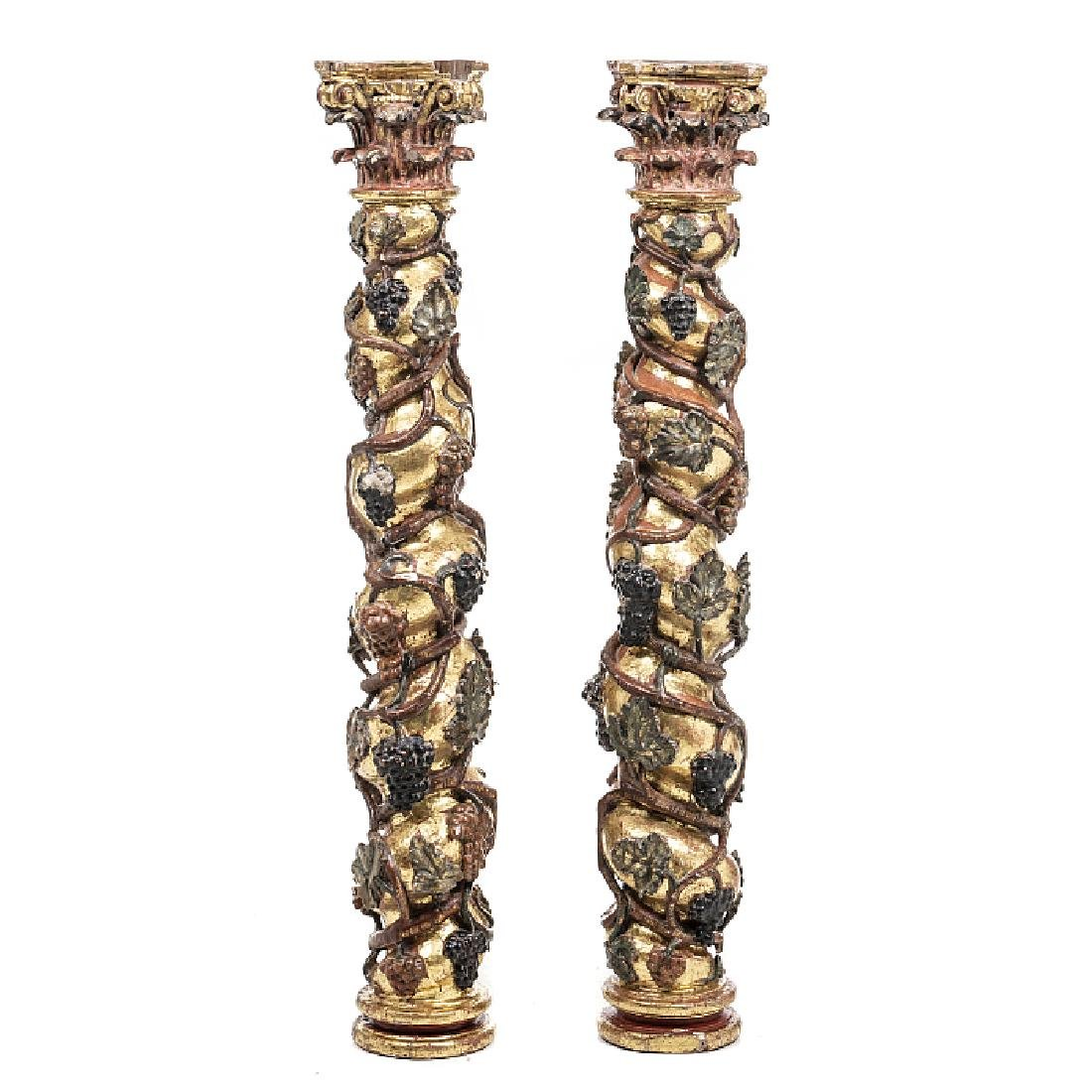Pair of columns in carved wood