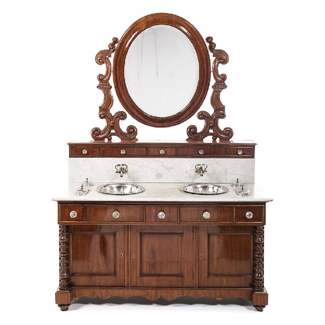 Toilette cabinet with washbowls and accessories in