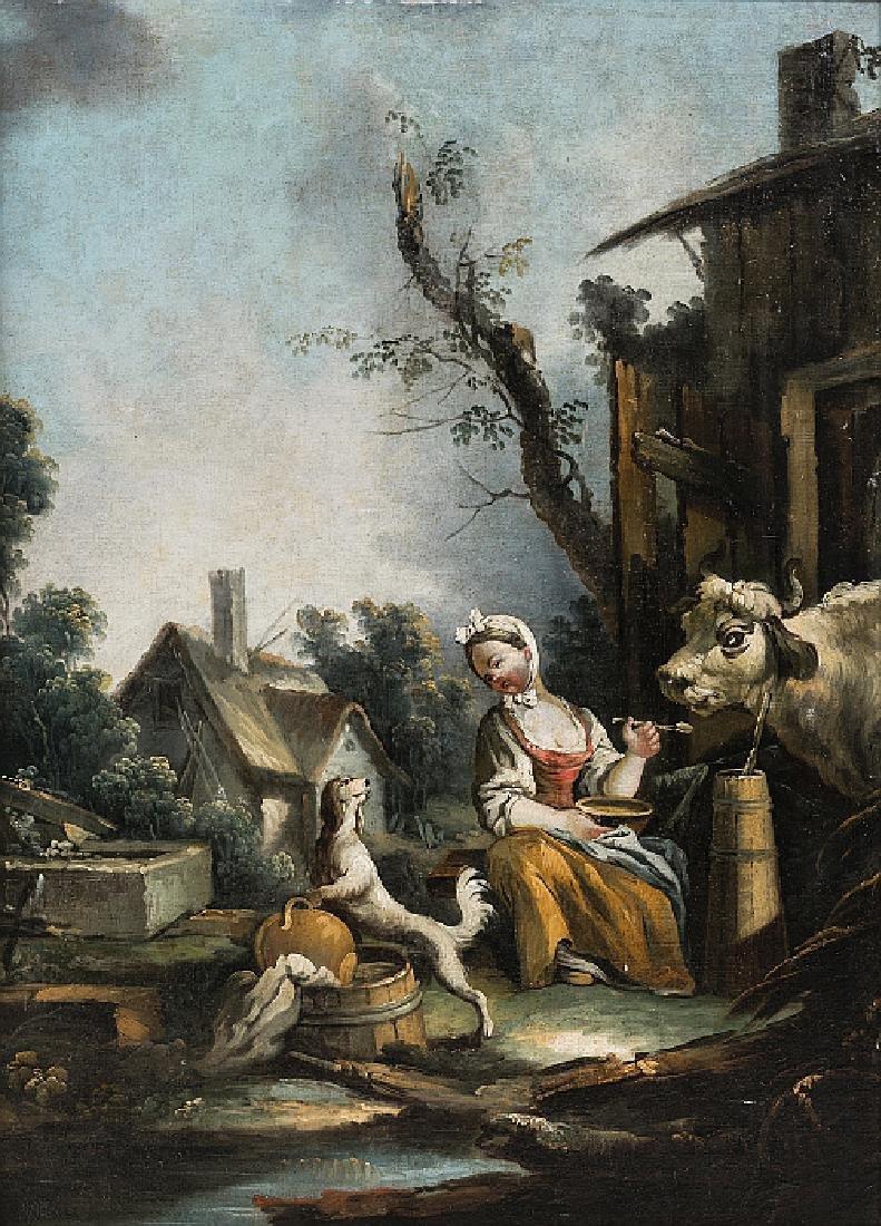 "FRENCH SCHOOL, 18TH CENTURY - ""Cena rural com figura,"