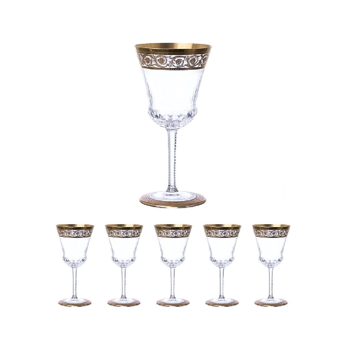 SAINT LOUIS - Six white wine glasses in crystal