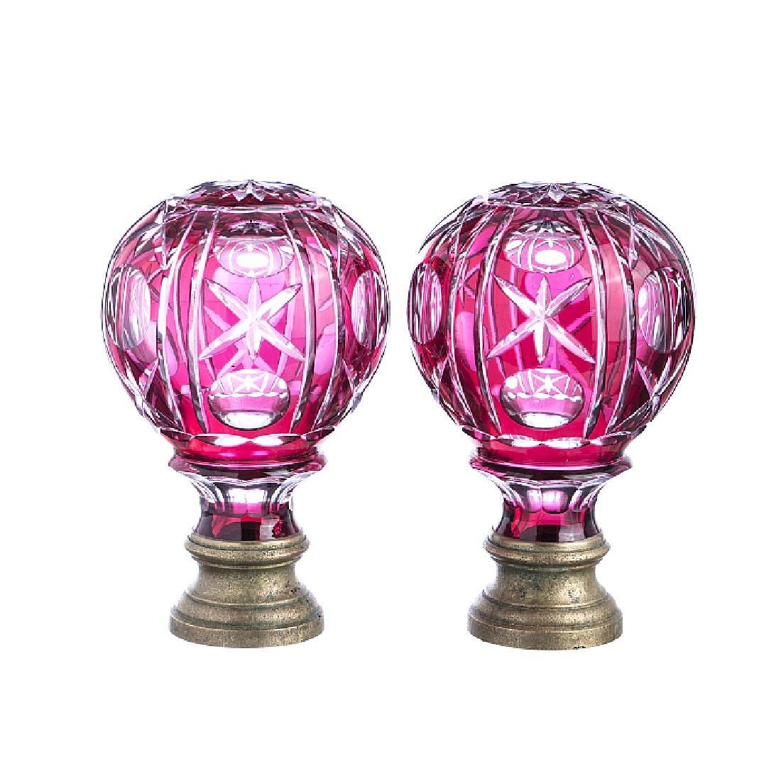 Pair of handrail knobs in crystal