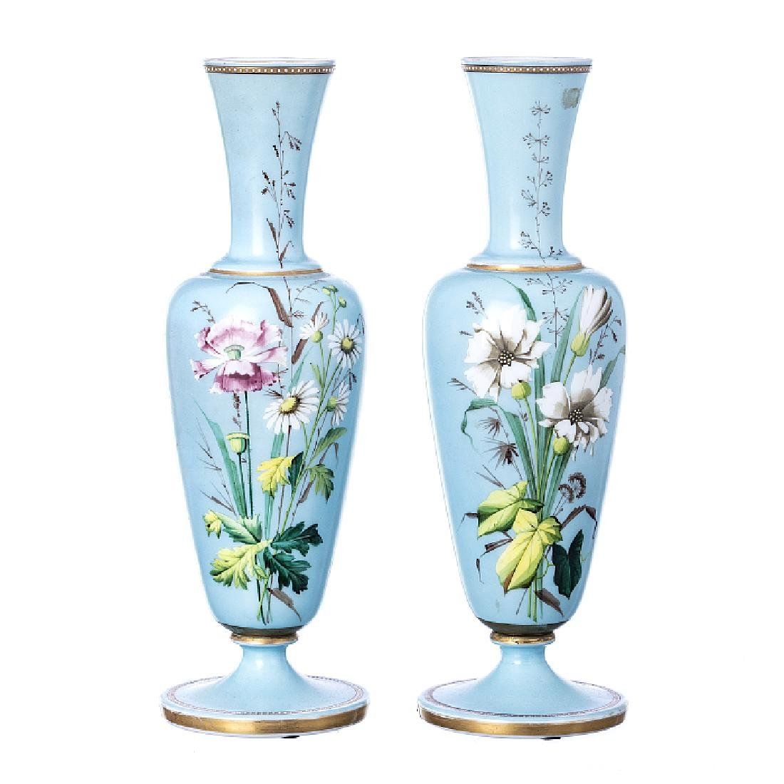 Pair of jugs in opaline glass