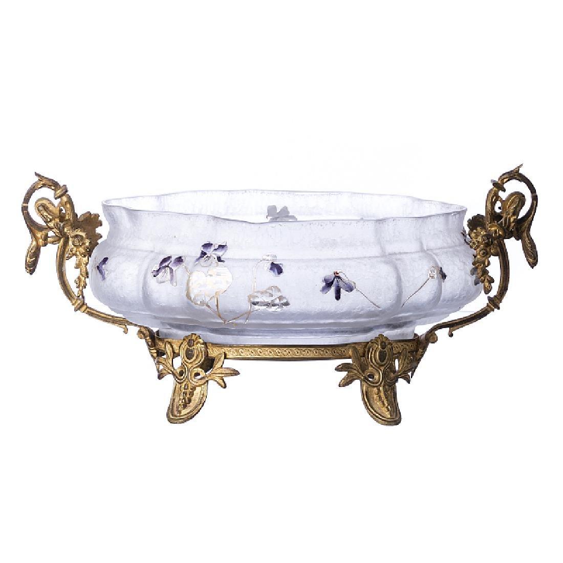 DAUM (Attr.) - Centrepiece in glass, monture in bronze