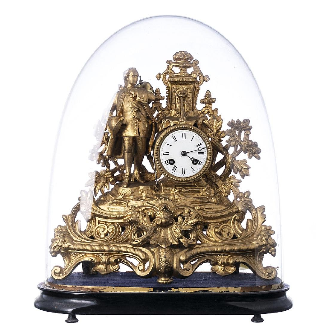 Table clock in antimony with a bell jar