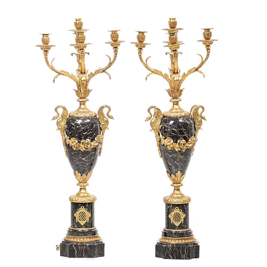 Pair of large candelabras in marble and bronze