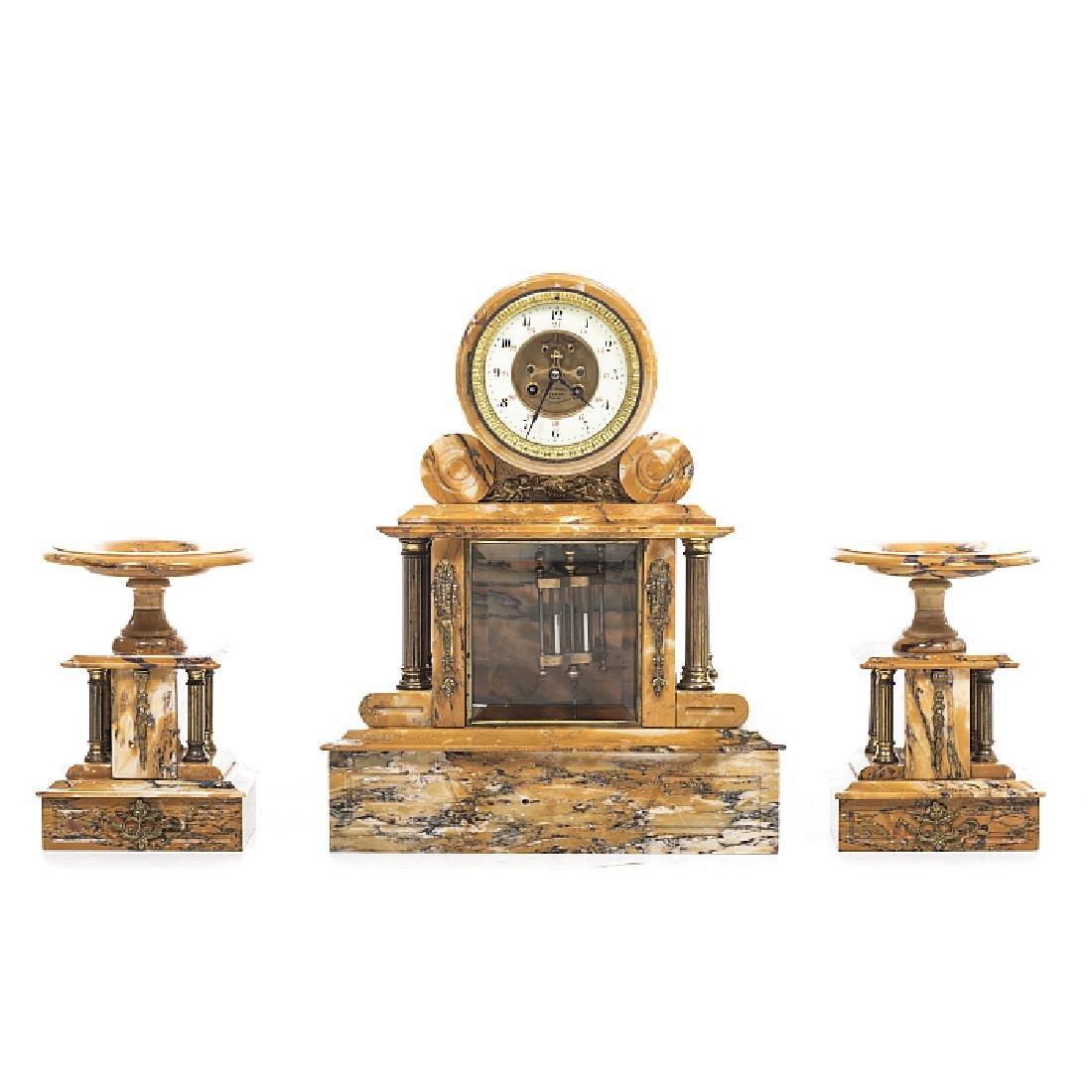 Table clock garniture, pair of cassolettes