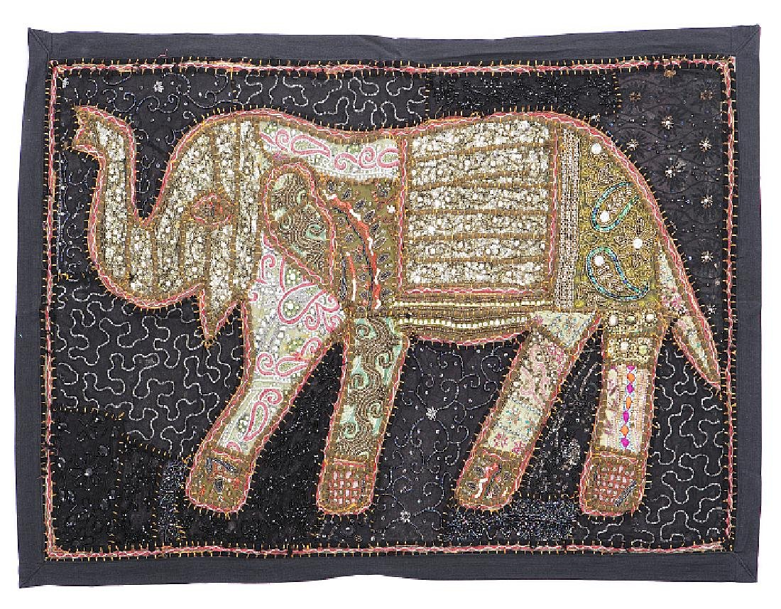 Embroidered cloth with an elephant