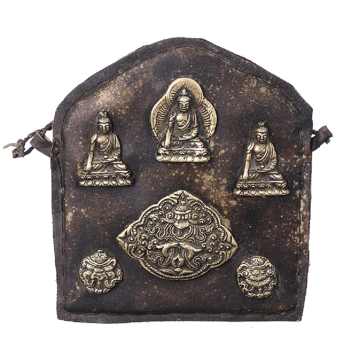 Tibetan plaque with buddhas