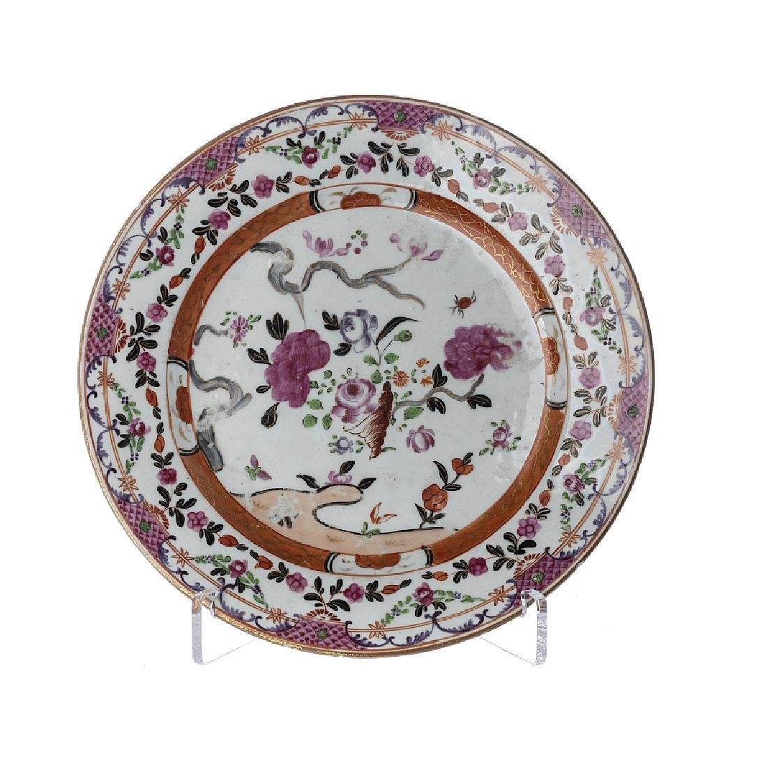 Plate in Chinese famille rose porcelain