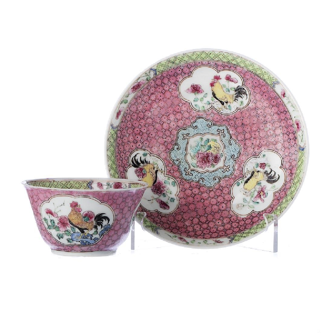 Chinese porcelain  'Rooster' Teacup and Saucer,