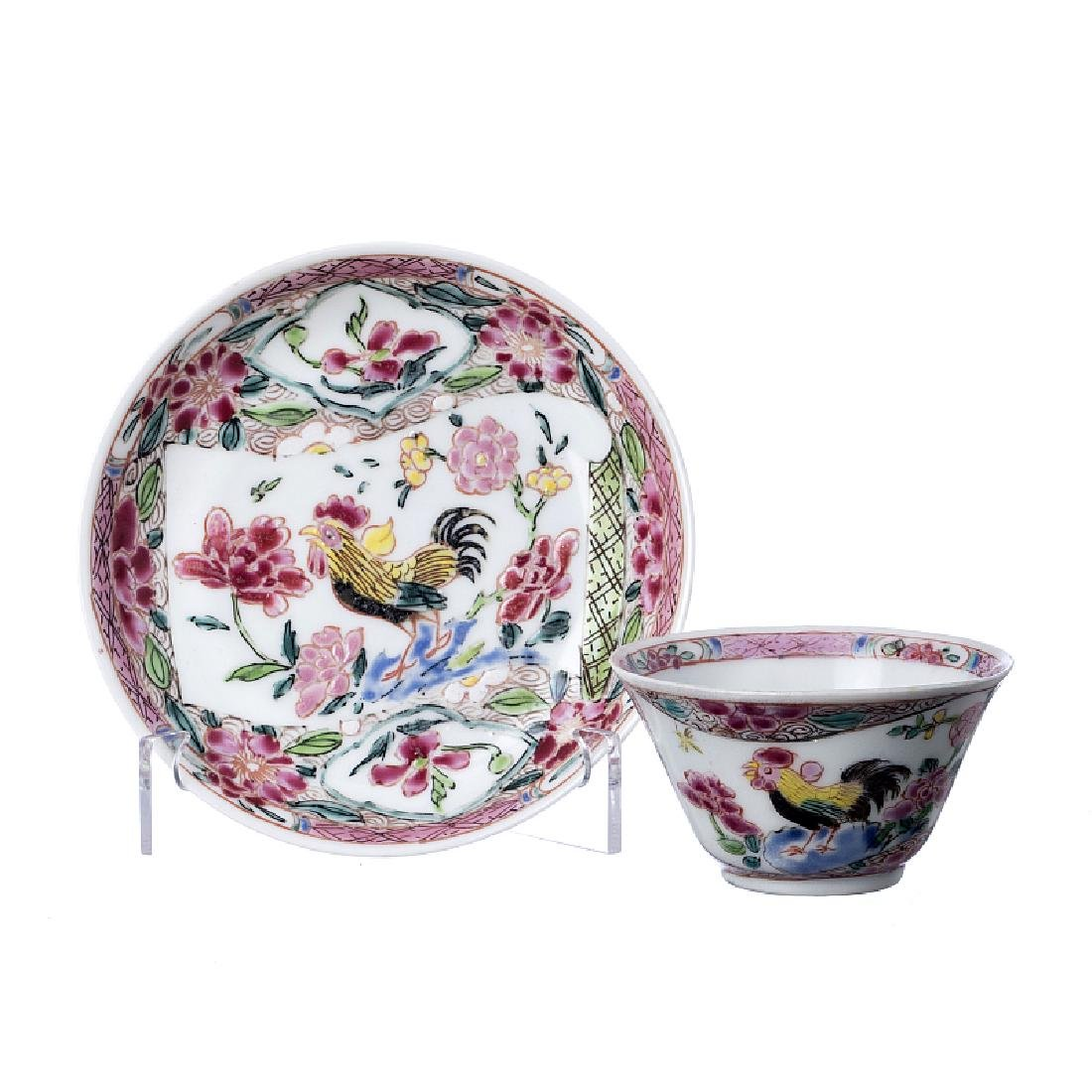 Rooster teacup and saucer in Chinese porcelain,