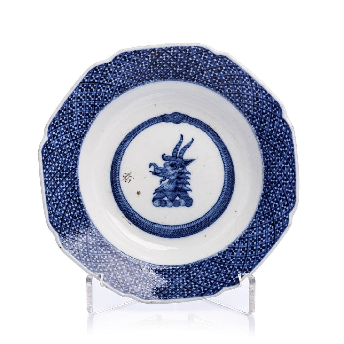 Saucer with coat of arms in Chinese porcelain, Qianlong